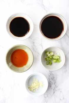 ingredientes para la salsa china dumpling