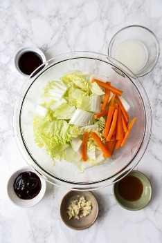 ingredientes para repolho napa frito