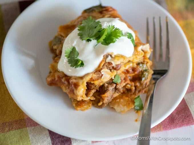 Lasanha mexicana de fogão lento