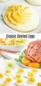 ¡Esta receta fácil y clásica de huevos rellenos está hecha con salsa, mostaza y mayonesa, para un relleno dulce, picante y relleno de huevos rellenos que es la MEJOR receta de huevos rellenos para Pascua, potlucks, fiestas de verano y comida de fiesta de fútbol! ¡Esta receta tradicional de huevos rellenos del sur se puede preparar con anticipación, por lo que es el aperitivo perfecto o la comida de fiesta! #deviledeggs #eggs #easter #appetizer #homemadeinterest