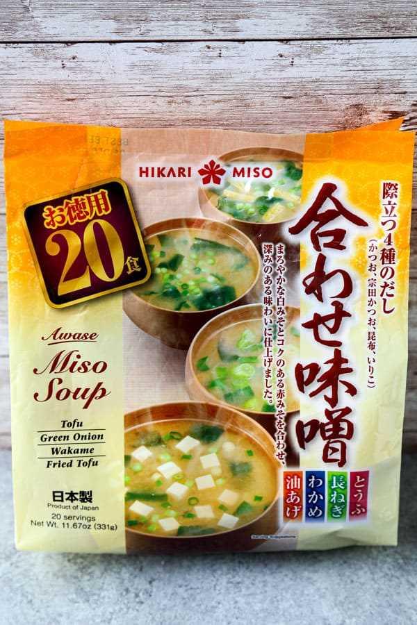 paquetes instantáneos de sopa de miso