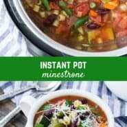 Recheada de legumes, feijões e massas nutritivos e saborosos, esta saudável Instant Pot Minestrone Soup pode ser feita em menos de uma hora. Perfeito em uma noite fria de inverno, tem gosto de um jardim ensolarado!