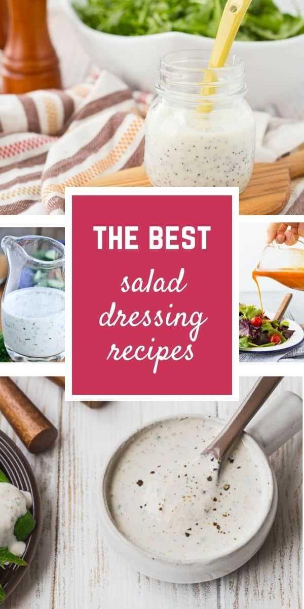 Imagen de collage de recetas caseras de aderezo para ensaladas