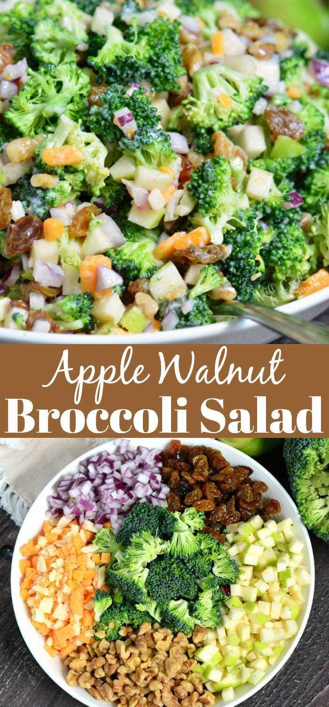 A melhor salada de brócolis. Esta salada de brócolis é feita com maçãs, nozes, passas, migalhas de queijo e cebola vermelha. Uma combinação perfeita para piqueniques, refeições compartilhadas e festas ao ar livre. #brindes #brindes #brindes #brindes #brindes