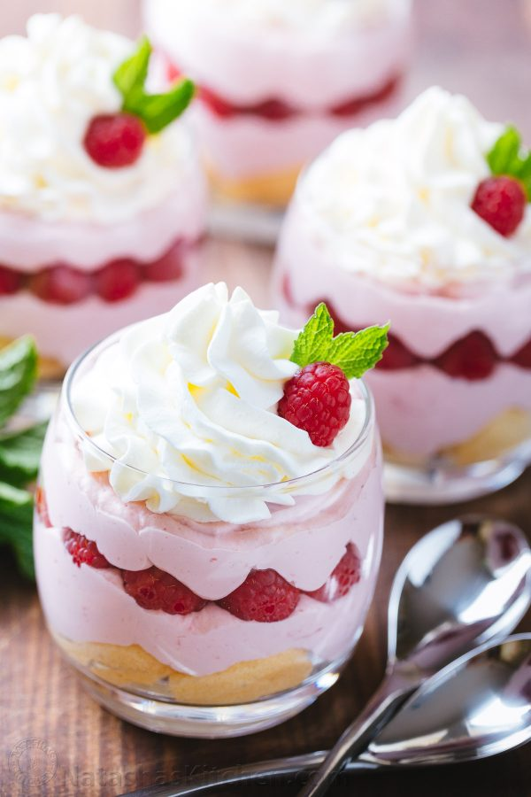 Raspberry Mousse Cups - An awesome and easy dessert and always a hit at parties! Sweet / sour raspberry mousse is packed with fresh raspberry flavor | natashaskitchen.com