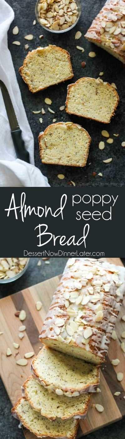 Esta receta de pan de semillas de amapola y almendras tiene un sabor dulce de almendras por dentro y por fuera, y es perfectamente húmeda y deliciosa.