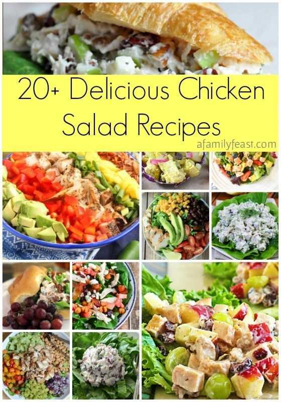 ¡Más de 20 deliciosas recetas de ensalada de pollo están en esta colección! Con cremosas recetas de pasta y ensalada para elegir, hay una para todos en este delicioso resumen en afamilyfeast.com