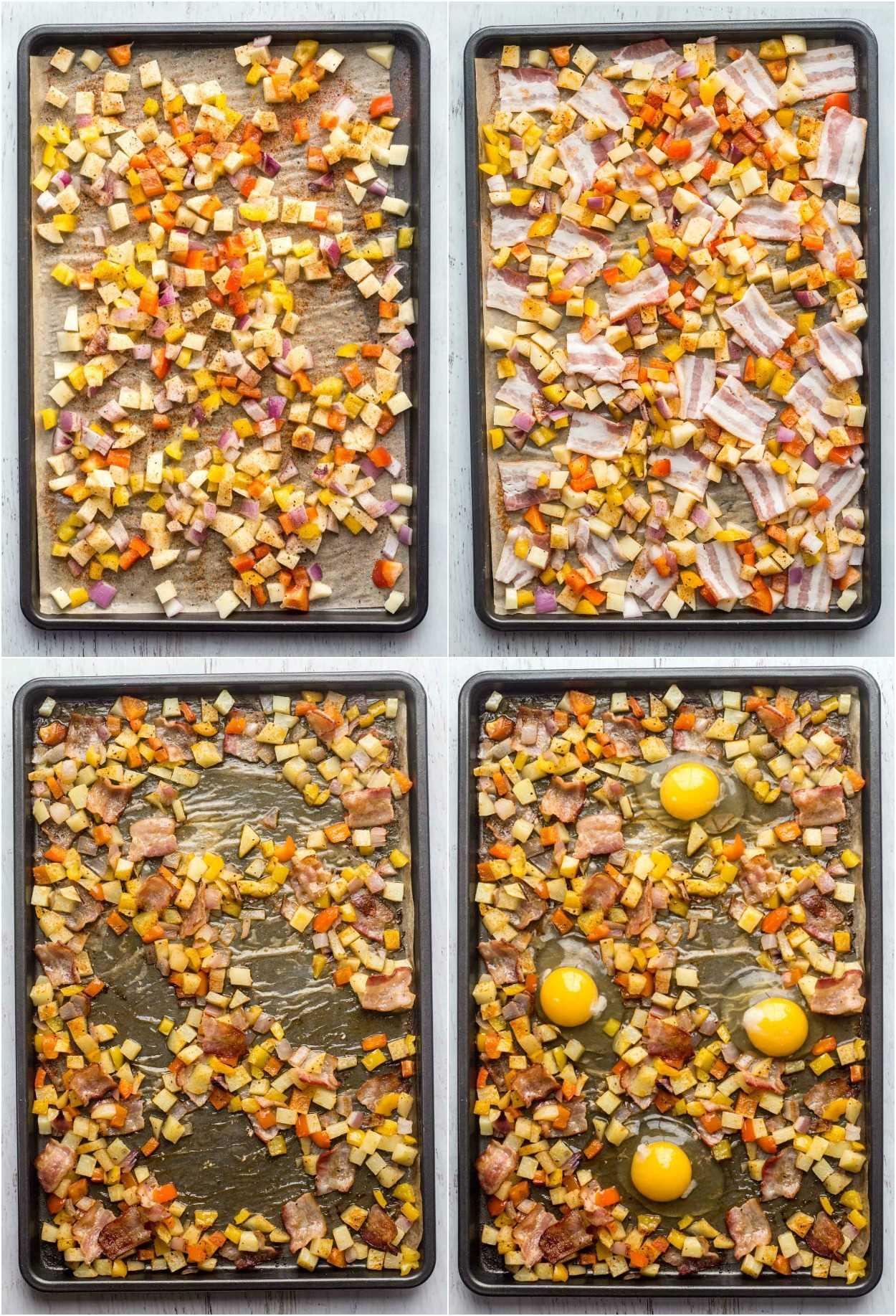 Receita de como preparar batatas e ovos no café da manhã em uma panela no forno.