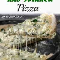 Pizza de queijo de cabra e espinafre