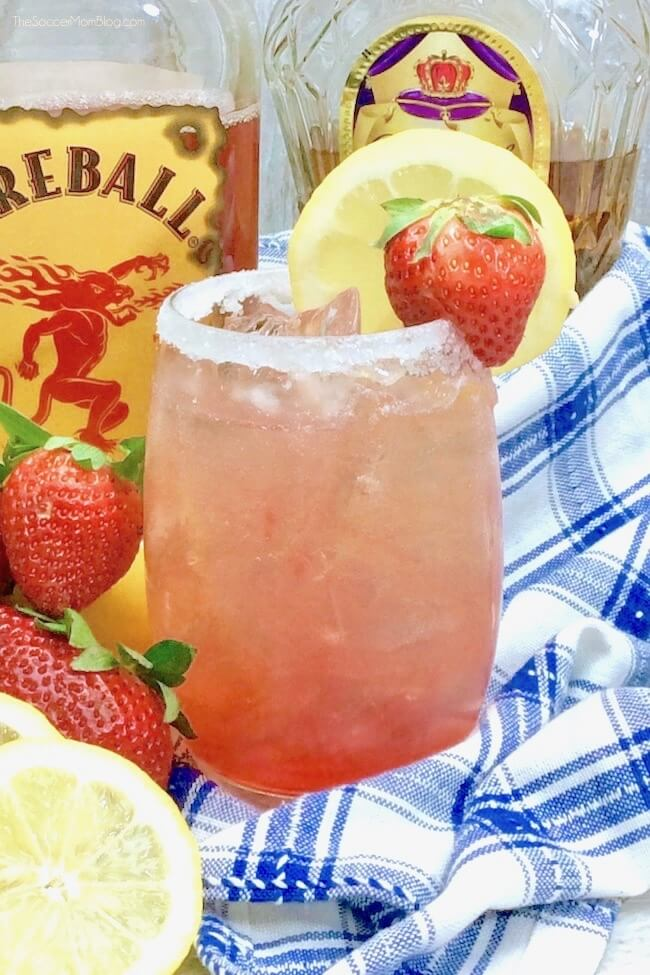 Strawberry lemonade cocktail made with fireball and Crown Royal whiskey