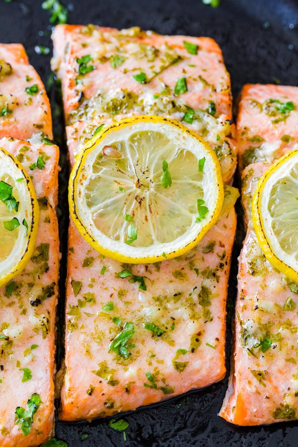 Filete de salmón al horno de cerca