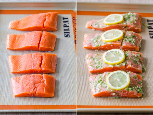 Cuánto tiempo hornear el salmón antes y después de hornear