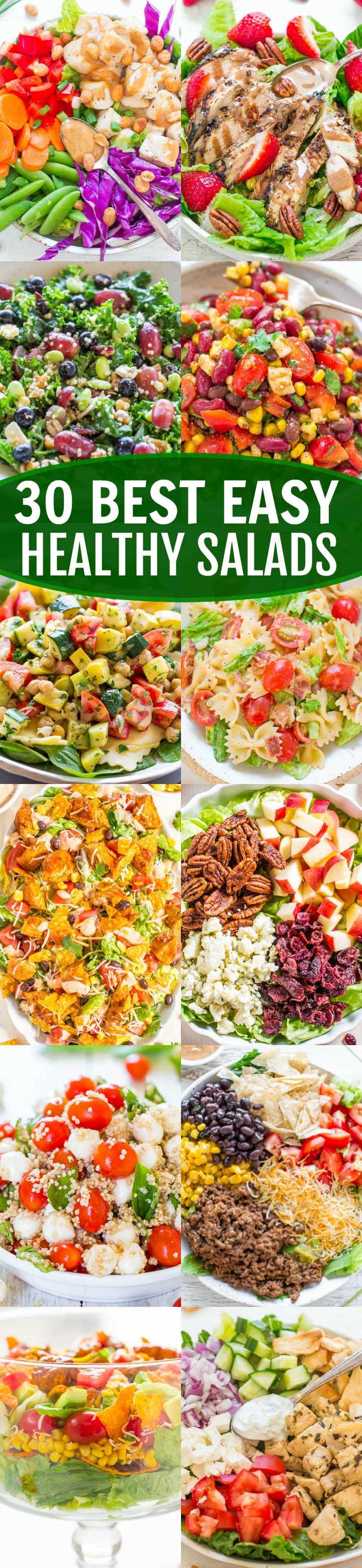 Las 30 mejores ensaladas fáciles y saludables: ¡sal de tu rutina de ensaladas con estas INCREÍBLES ensaladas! ¡Rápido, FÁCIL y SABROSO! ¡¡Querrás ponerlos en tu rotación regular !!