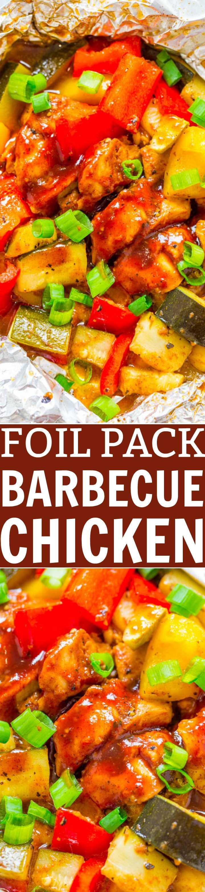 Foil Pack Barbecue Chicken - ¡Listo en 15 minutos y una manera FÁCIL de disfrutar el pollo a la parrilla a la parrilla! ¡Una comida deliciosa y saludable hecha en un paquete de aluminio con limpieza CERO!