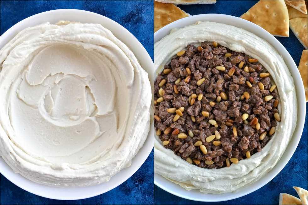 Dos fotos lado a lado de Hummus libanés en cuencos blancos. La foto de la izquierda muestra hummus simple en el tazón y la foto de la derecha muestra el hummus cubierto con carne especiada.