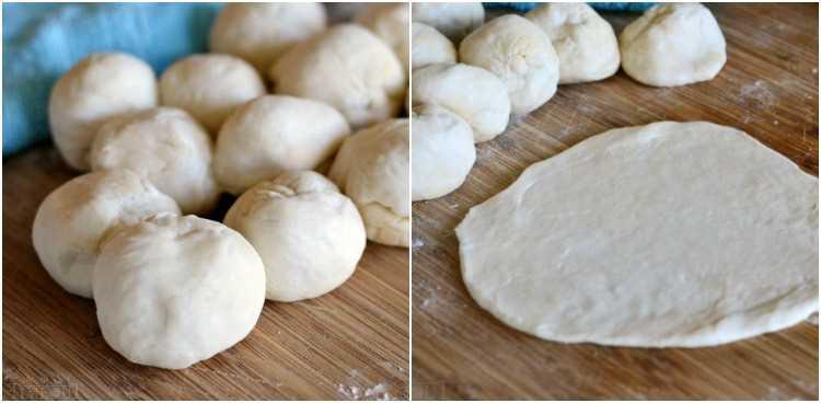 tortillas caseras bolas de masa y masa enrollada a bordo