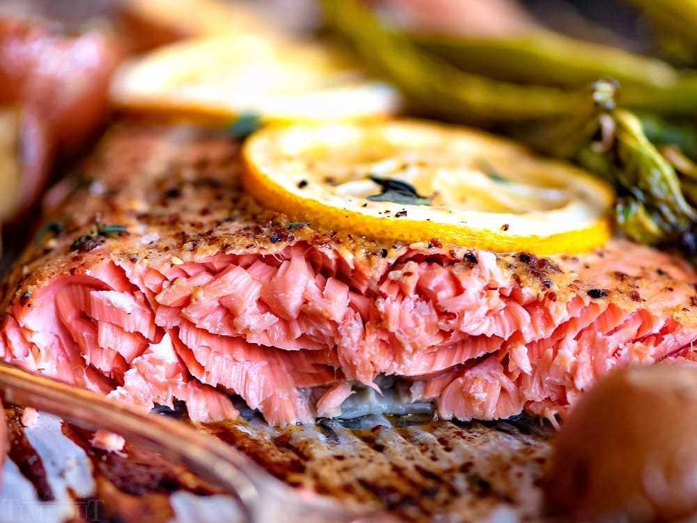 Receta de salmón al horno cerca de tiernas escamas de salmón