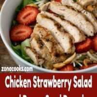 Ensalada de pollo con fresas y aderezo de semillas de amapola Cena para dos