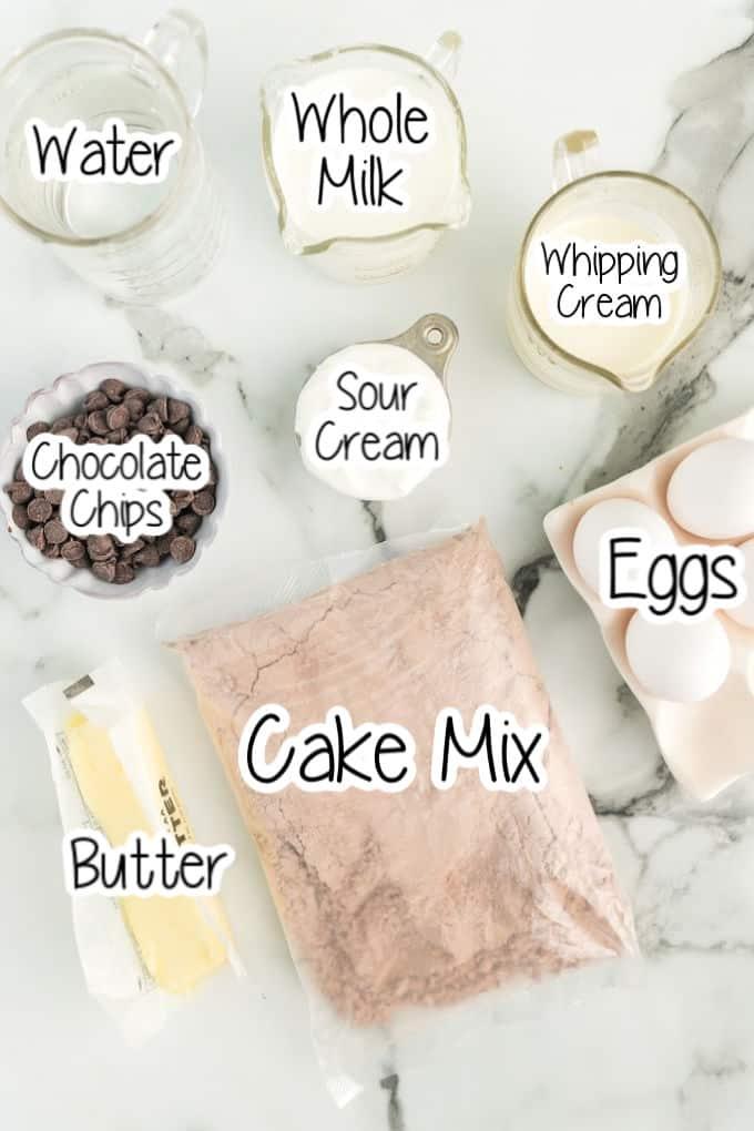 Ingrediente de pastel de chocolate instantáneo