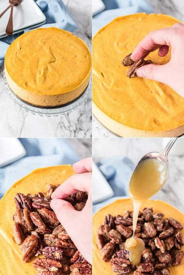 adicionando coberturas à torta de abóbora instantânea