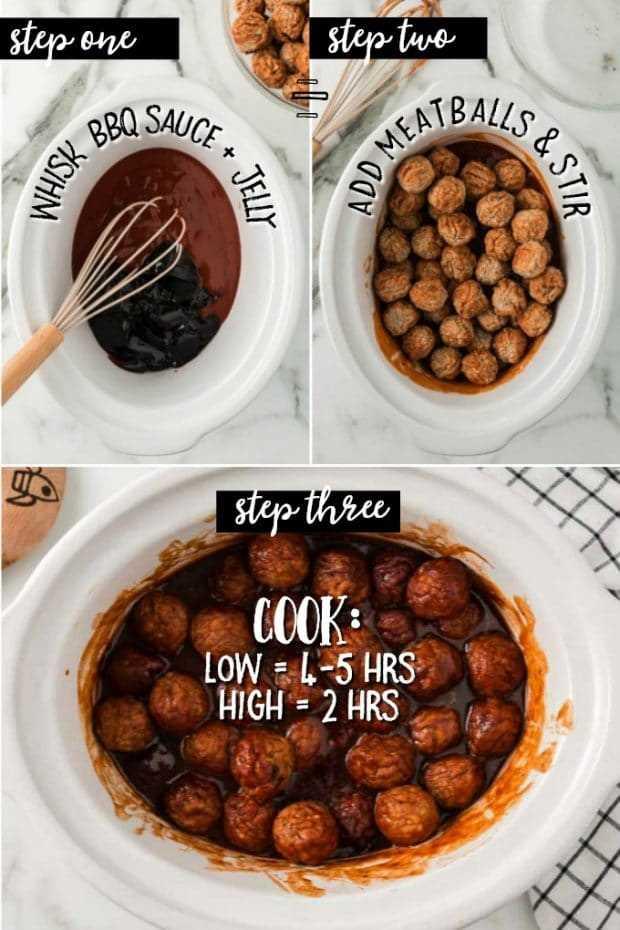3 fotos mostrando as etapas para fazer bolinhos de panela lentos