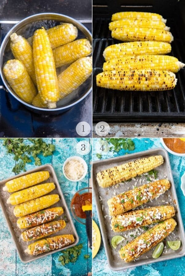 Collage de pasos de receta de Elote de maíz mexicano