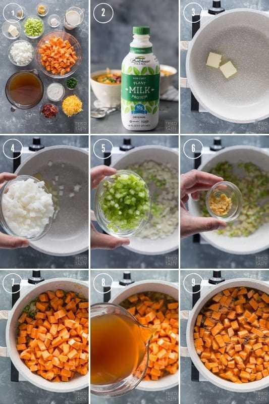 Colagem de instruções passo a passo sobre como fazer sopa de batata doce carregada