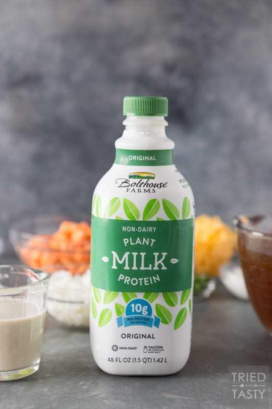 Feche o tiro de Bolthouse planta proteína leite