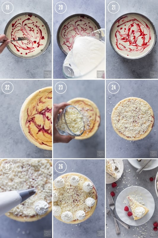 Colagem de fotos passo a passo de como fazer Cheesecake Factory Cheesecake de trufa de chocolate e chocolate branco