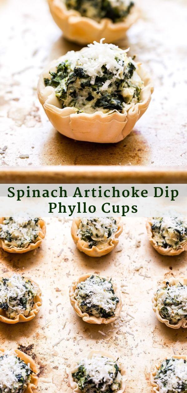 Espinafre Alcachofra Dip Phyllo Cups Colagem de Pinterest.