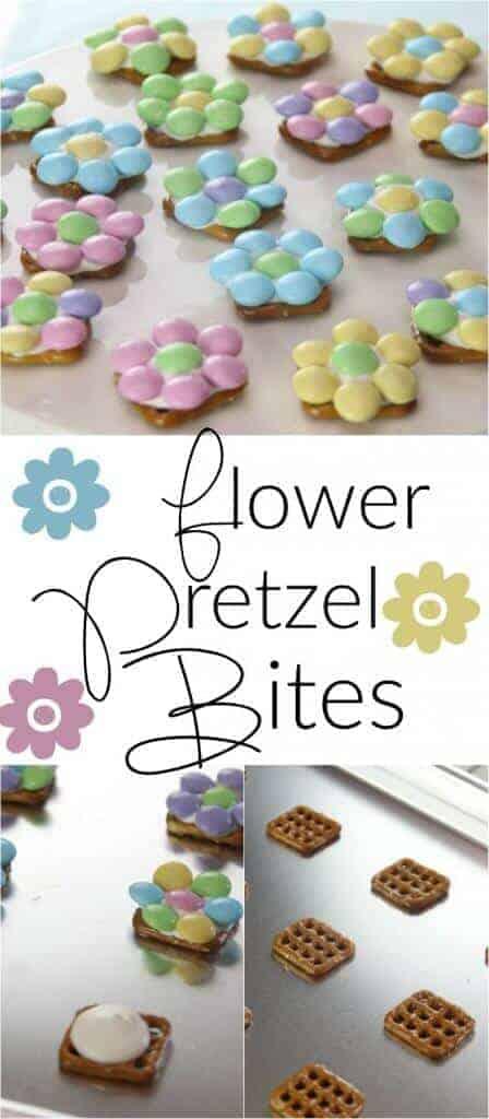 Estas picaduras de pretzel de flores de primavera son la manera perfecta de dar la bienvenida a la primavera a su hogar. ¡También son el postre de Pascua fácil y perfecto para hacer con tus hijos!