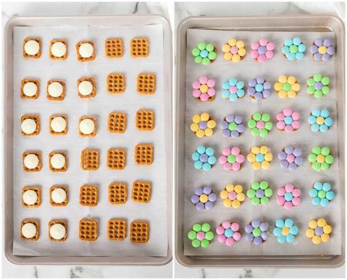 Cómo hacer picaduras de pretzel con flores de primavera