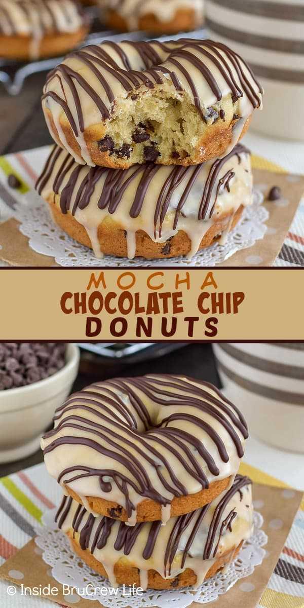 Mocha Chocolate Donuts: Estes donuts caseiros são carregados com lascas de chocolate e cobertos com uma cobertura de café doce. Facilite esta receita para o café da manhã ou lanches depois da escola. #donuts #homemade #chocolatechip #mocha # café # café da manhã