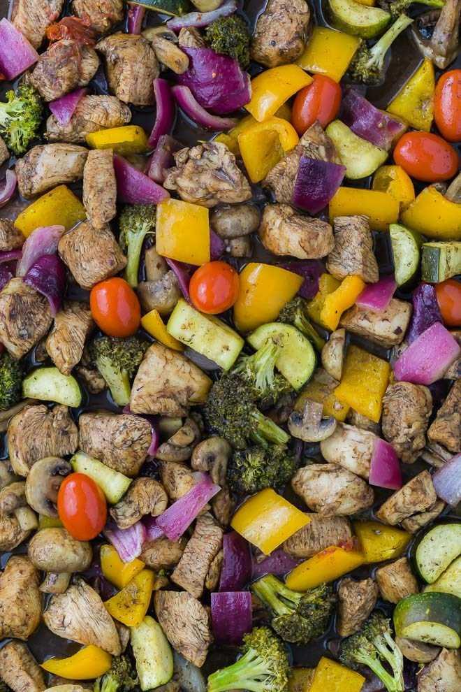 Imagem de frango marinado em vinagre balsâmico e mel, em uma panela com legumes