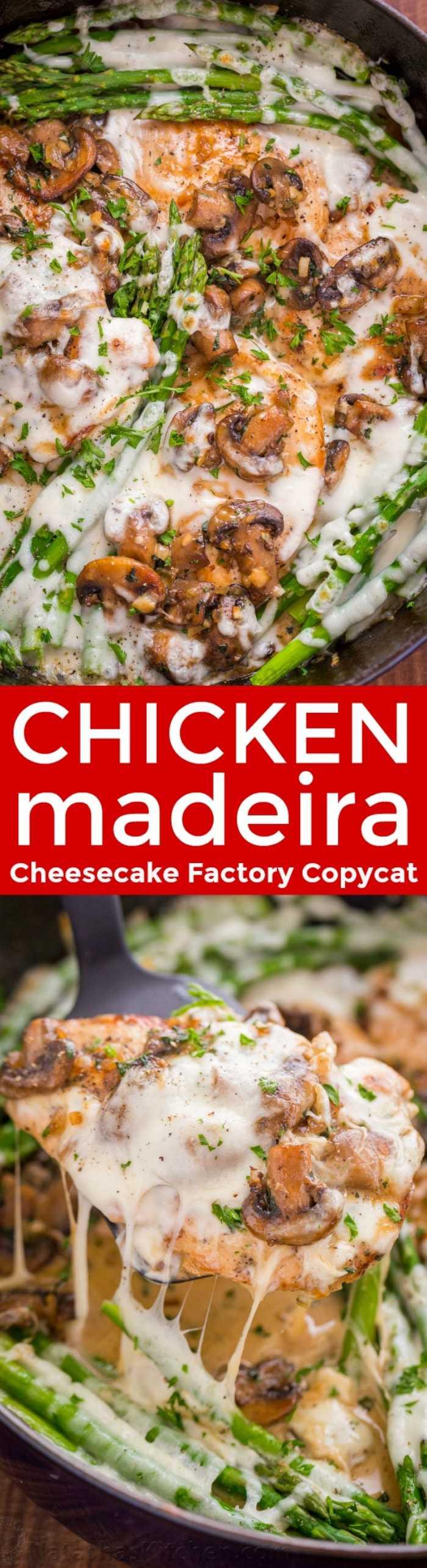 Pollo Madeira con pollo jugoso y champiñones en una salsa cremosa con queso derretido ... ¡Cremoso pollo Madeira es una receta imitación de Cheesecake Factory! El | natashaskitchen.com