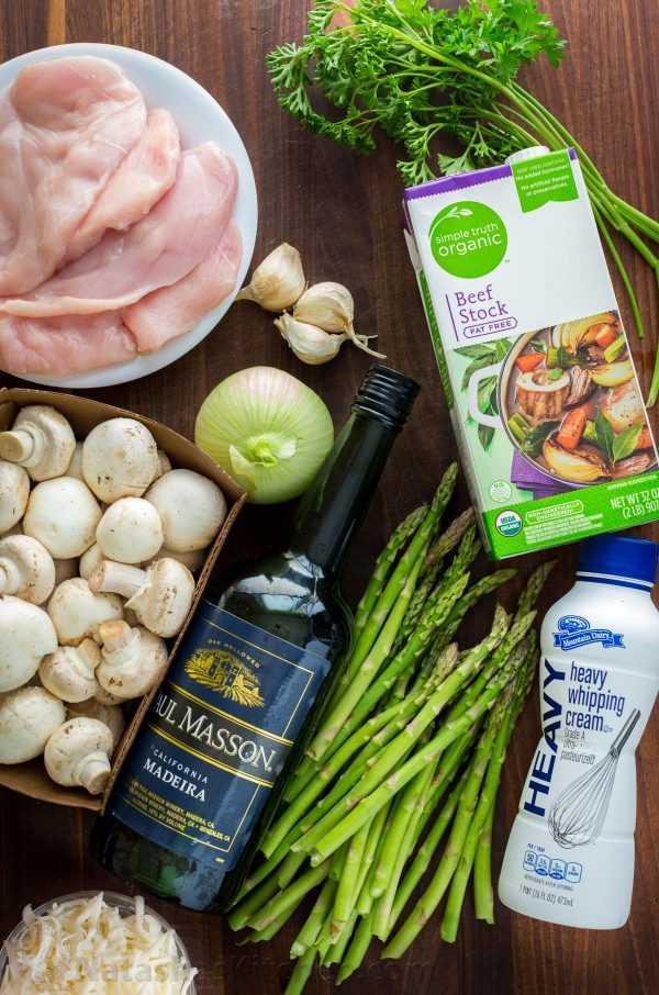 Ingredientes para hacer pollo a la madeira y sustituto del vino de madeira