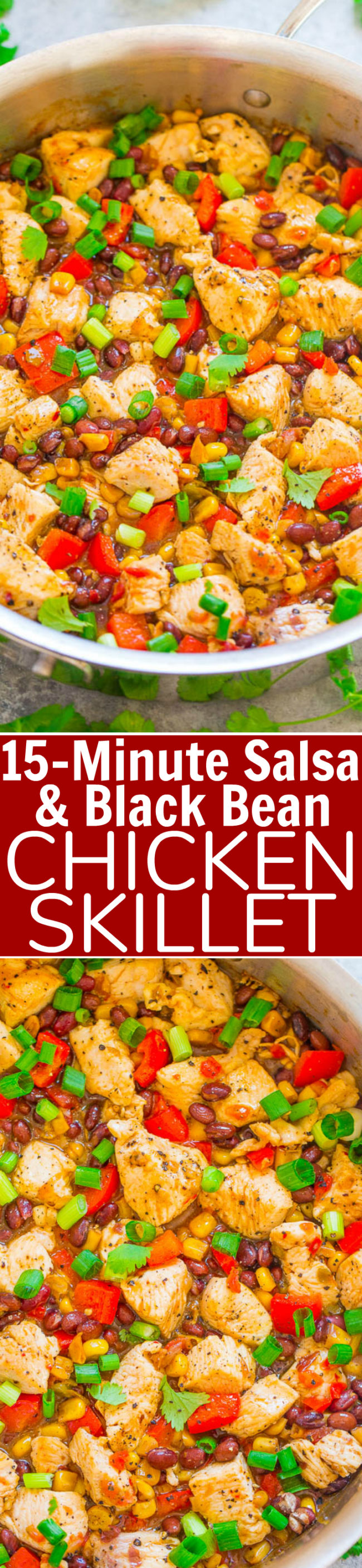 15-Minute Chicken Skillet and Black Bean Sauce: Fast, EASY, family-friendly, healthy but hearty, naturally gluten-free food, inspired by Mexico! The PERFECT recipe to liven up your regular chicken dinner during the week!