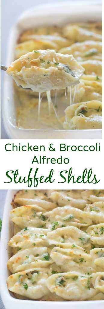 Las cáscaras rellenas de pollo y brócoli Alfredo incluyen tiernas cáscaras de pasta rellenas con una mezcla cursi de pollo y brócoli desmenuzado y cubiertas con una salsa alfredo casera fácil. El | Sabe mejor desde cero