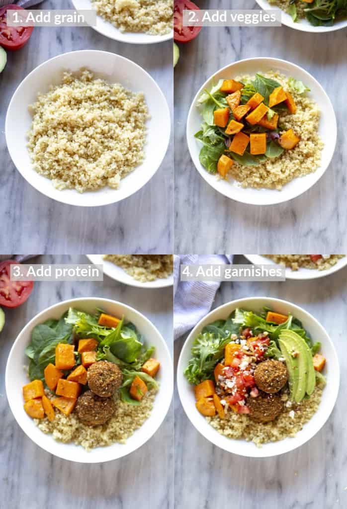 Cuatro fotos de proceso para colocar en capas un tazón de Buda con granos, verduras, proteínas y salsa.