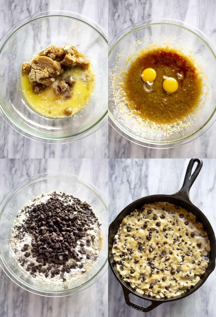 Cuatro fotos de proceso para hacer masa de galletas con chispas de chocolate y luego presionarlas en una sartén de hierro fundido.