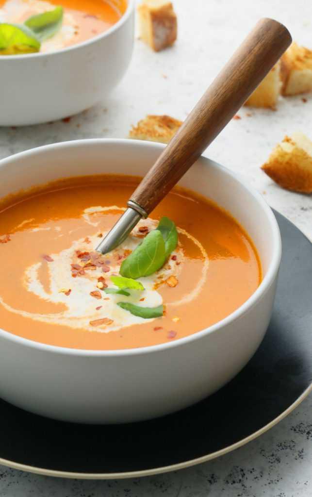 la mejor sopa cremosa de tomate en una olla instantánea
