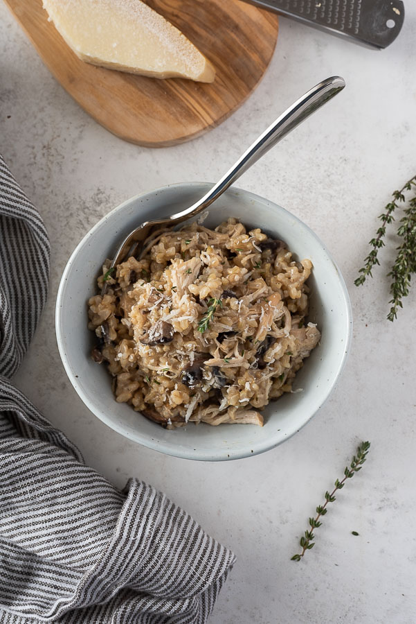 mostrar em cima de frango instantâneo e panela de arroz em uma tigela com garfo