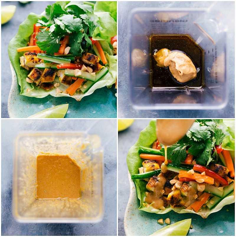 Toma de proceso: Receta completa de pollo con lechuga y maní, ingredientes de salsa de maní, salsa de maní completamente mezclada y un chorrito de salsa sobre la envoltura de lechuga. Receta: https://www.chelseasmessyapron.com/peanut-chicken-lettuce-wraps/