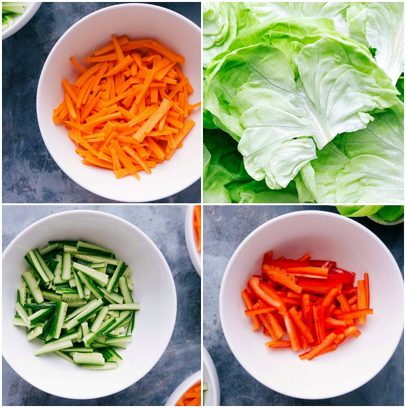 Processo de filmagem: uma seleção de vegetais crus para adicionar ao invólucro. Receita: https://www.chelseasmessyapron.com/peanut-chicken-lettuce-wraps/