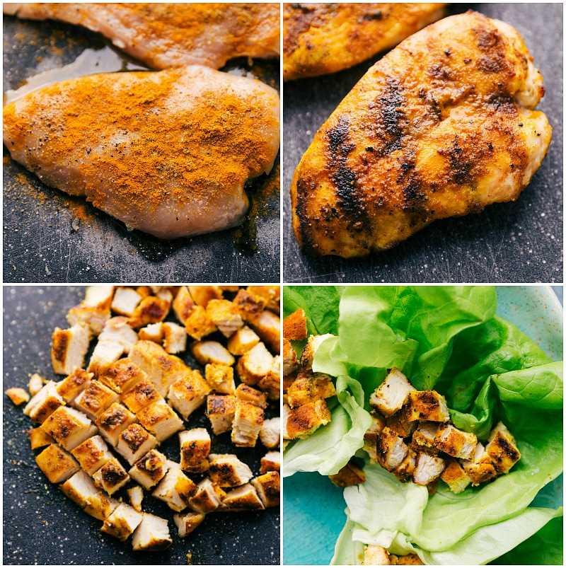 Foto de proceso: cuatro imágenes de una pechuga de pollo deshuesada y sin piel: cruda, salteada, picada y en la ensalada. receta: https://www.chelseasmessyapron.com/peanut-chicken-lettuce-wraps/