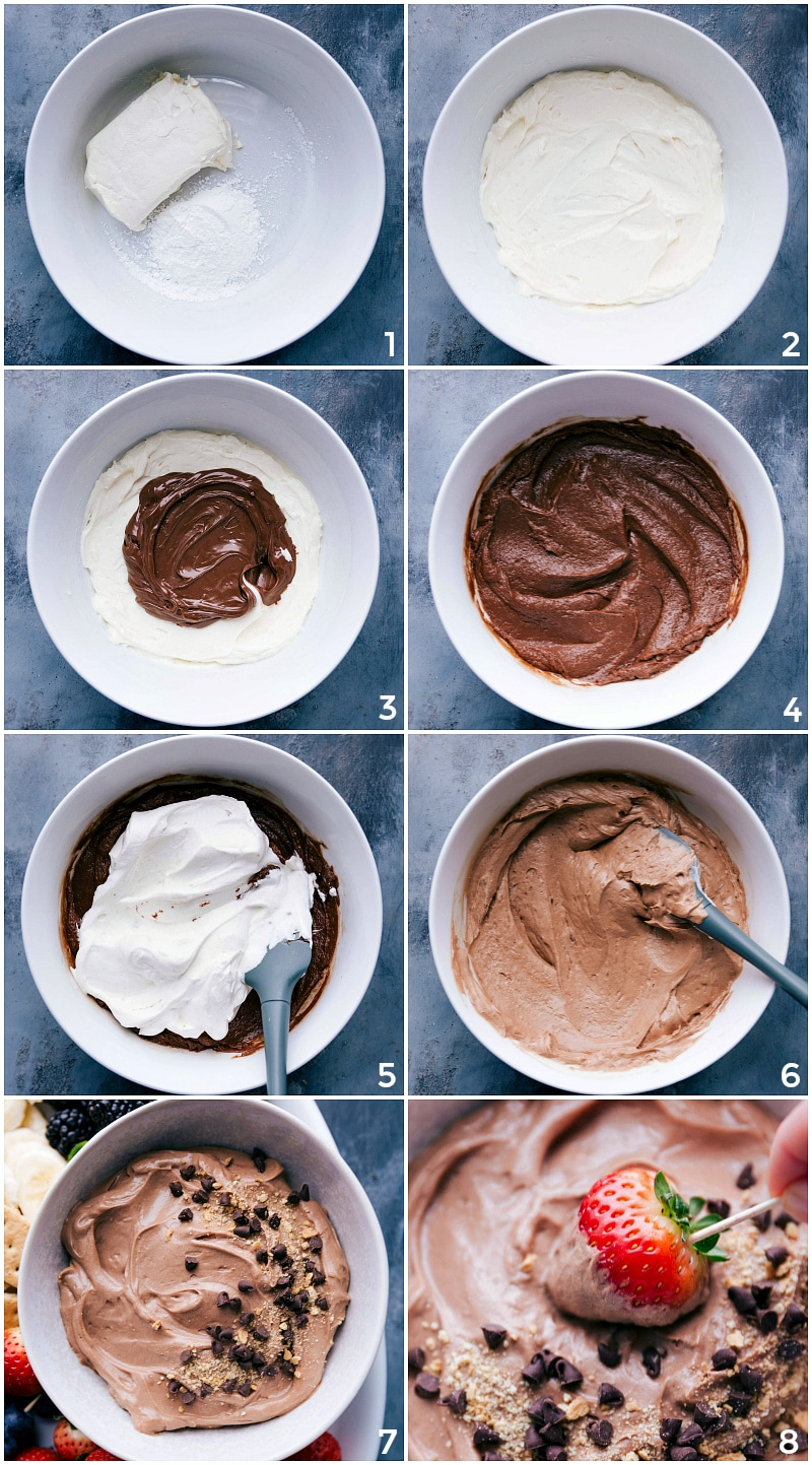Procesar tomas: imágenes de la salsa que se está haciendo mezclando el queso crema agregando la Nutella y luego la crema batida