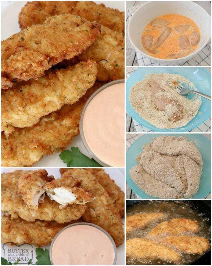 Tiras de pollo hechas desde cero, tan tiernas, jugosas y sabrosas. ¡2 sencillos consejos para llevar sus ofertas de pollo de bueno a excelente!