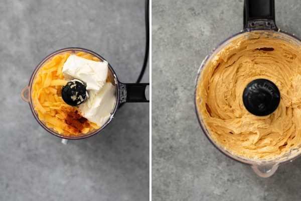 collage de proceso de receta de queso pub