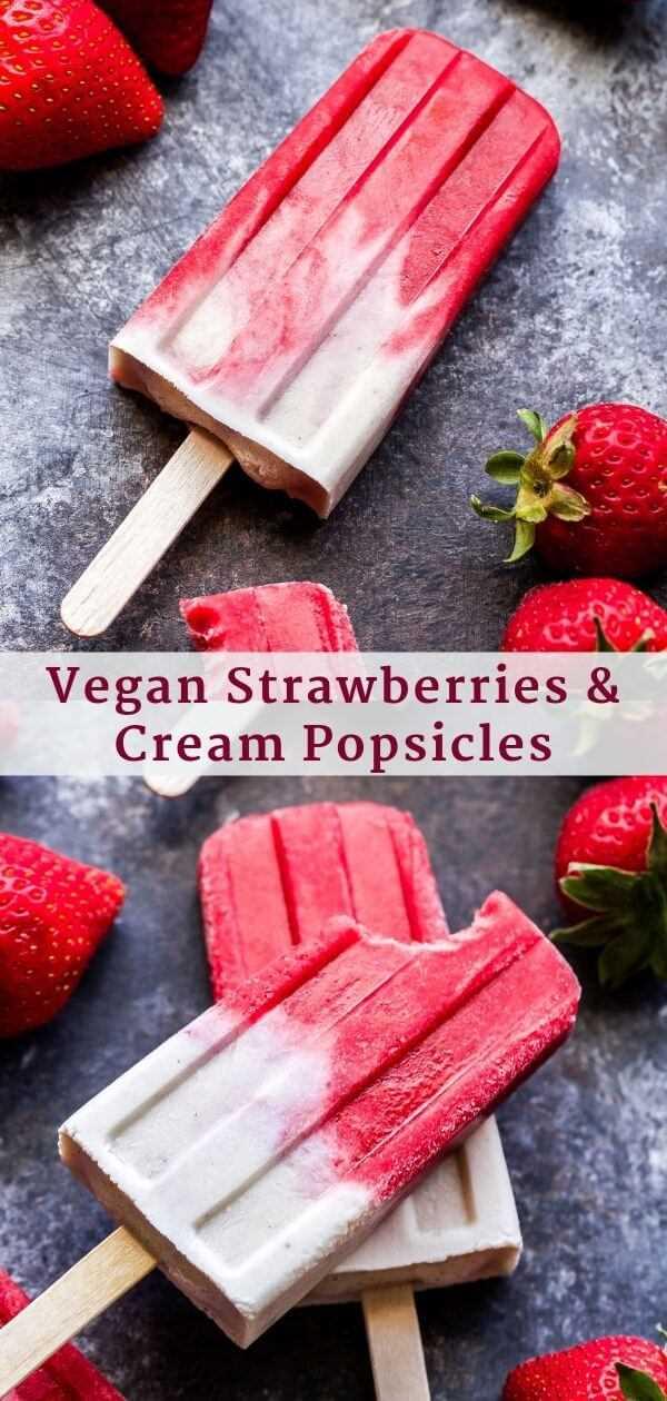 Fresas veganas y paletas de crema Pinterest Collage