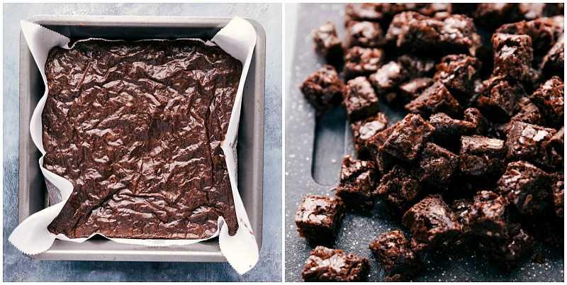 Foto de proceso: imagen de los brownies hechos para esta bagatela de brownie